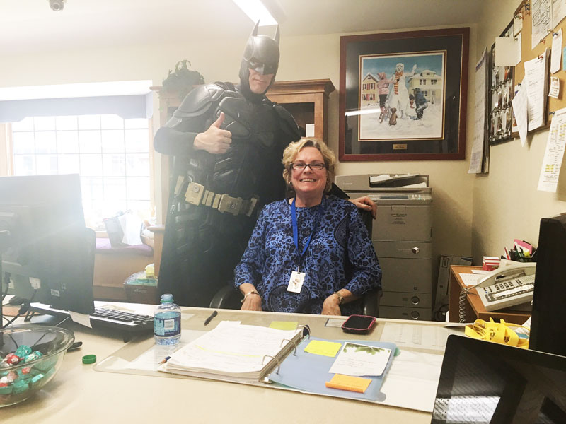 Batman with one of our staff members