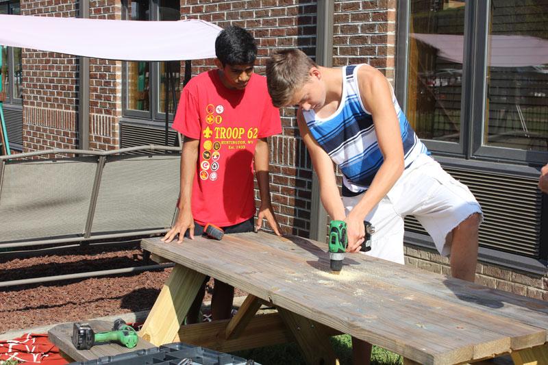 Volunteers helping out